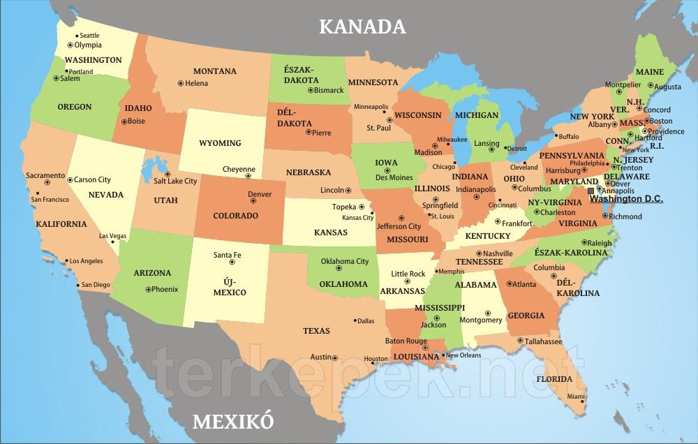 amerika állam térkép Egyesült Államok politikai térképe amerika állam térkép