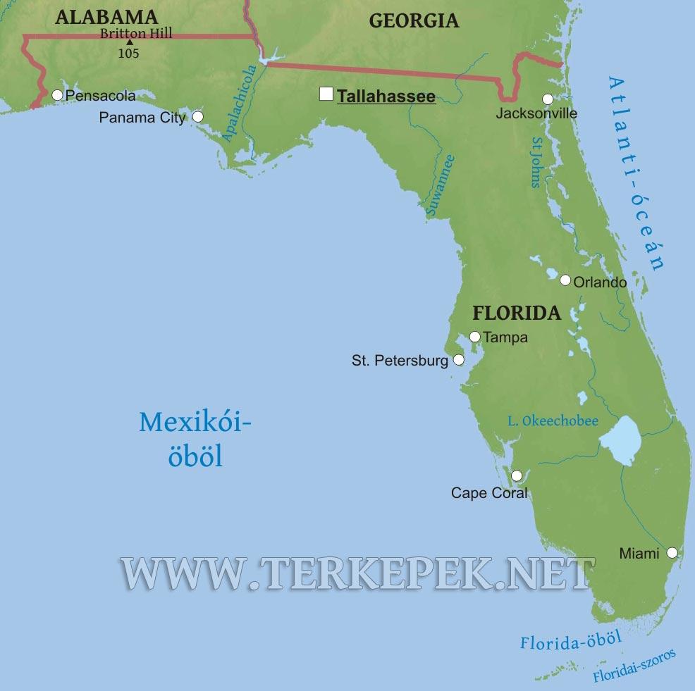 amerika térkép florida Florida domborzati térképe amerika térkép florida