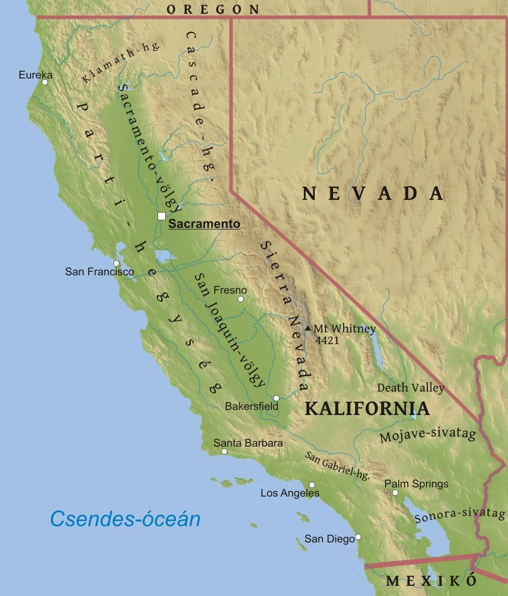 kalifornia térkép Kalifornia domborzati térképe kalifornia térkép