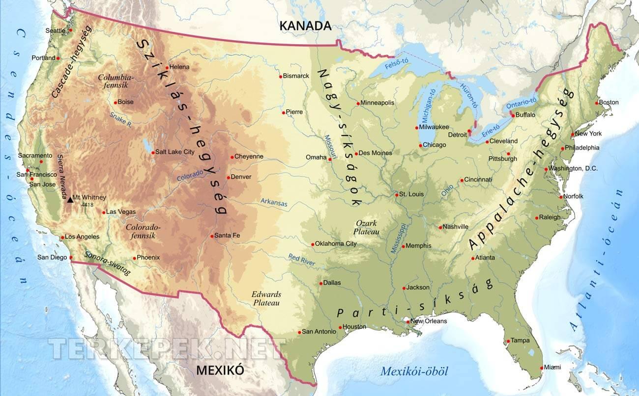 észak amerika térkép városokkal USA domborzati térképe észak amerika térkép városokkal